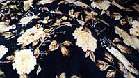 Махровая ткань темно-синяя «Роза»  для халатов и пледов