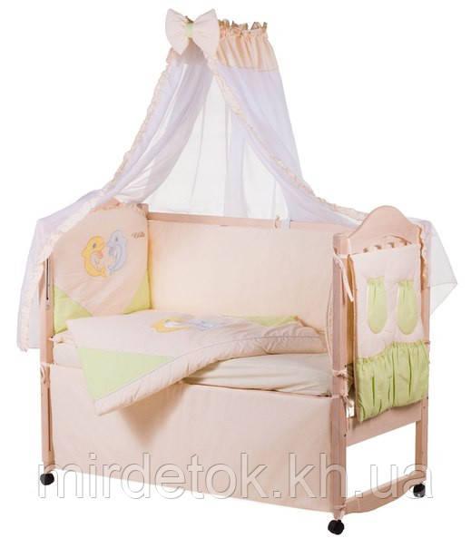 Детское постельное с аппликацией хлопок на 8 эл. ELLIT  (желтый и голубой дельфины)