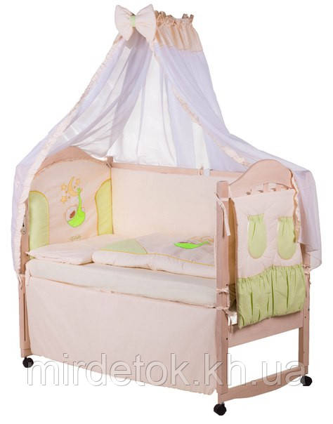 Детское постельное с аппликацией хлопок на 8 эл. ELLIT  (бежевая - салатовые вставки)