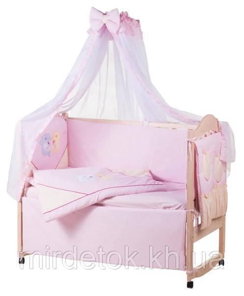 Детское постельное с аппликацией хлопок на 8 эл. ELLIT  (белый и розовый дельфины)