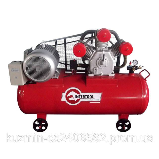 Компрессор воздушный трёхцилиндровый  300л 15HP 11кВт 380В 8атм 1600л/мин INTERTOOL PT-0050