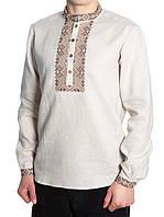 Льняная вышитая мужская рубашка