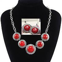 Комплект (ожерелье+серьги) с красными камнями, коралл