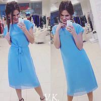 Платье из двойного шифона с пояском