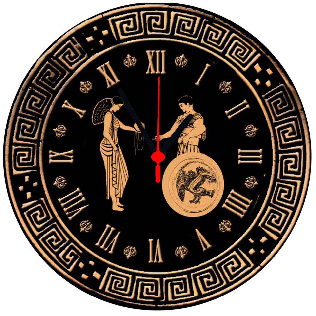 """Настінні годинники на склі """"Орнамент"""" круглі"""