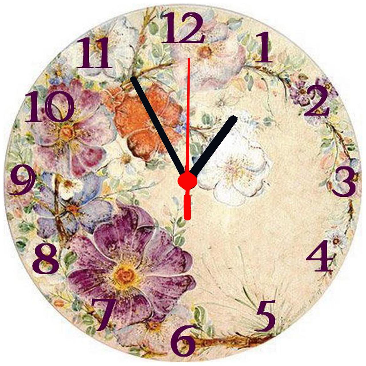 """настенные часы на стекле """"Цветочный рисунок"""" круглые"""