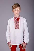 Вышиванка для мальчика с вышивкой красного цвета натуральный лен, фото 1