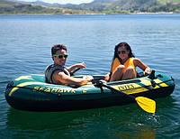 Трехместная надувная лодка с насосом и веслами Интекс (236х114x41)