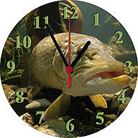 """настенные часы на стекле """"Рыбалка"""" круглые"""