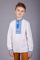 Вышиванка детская с геометрическим узором на белом льне синяя, фото 1
