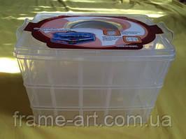 Органайзер для бисера чемодан №12/04 30 ячеек прозрачный
