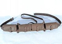 Патронташ на 24 патрона закрытый кожа Ретро коричневый