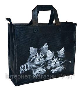"""Эко-сумка из натурального материала с рисунком """"котики"""""""
