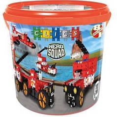 Конструктор Пожарная команда CLICS 8 в 1 в контейнере (292 детали + наклейки)