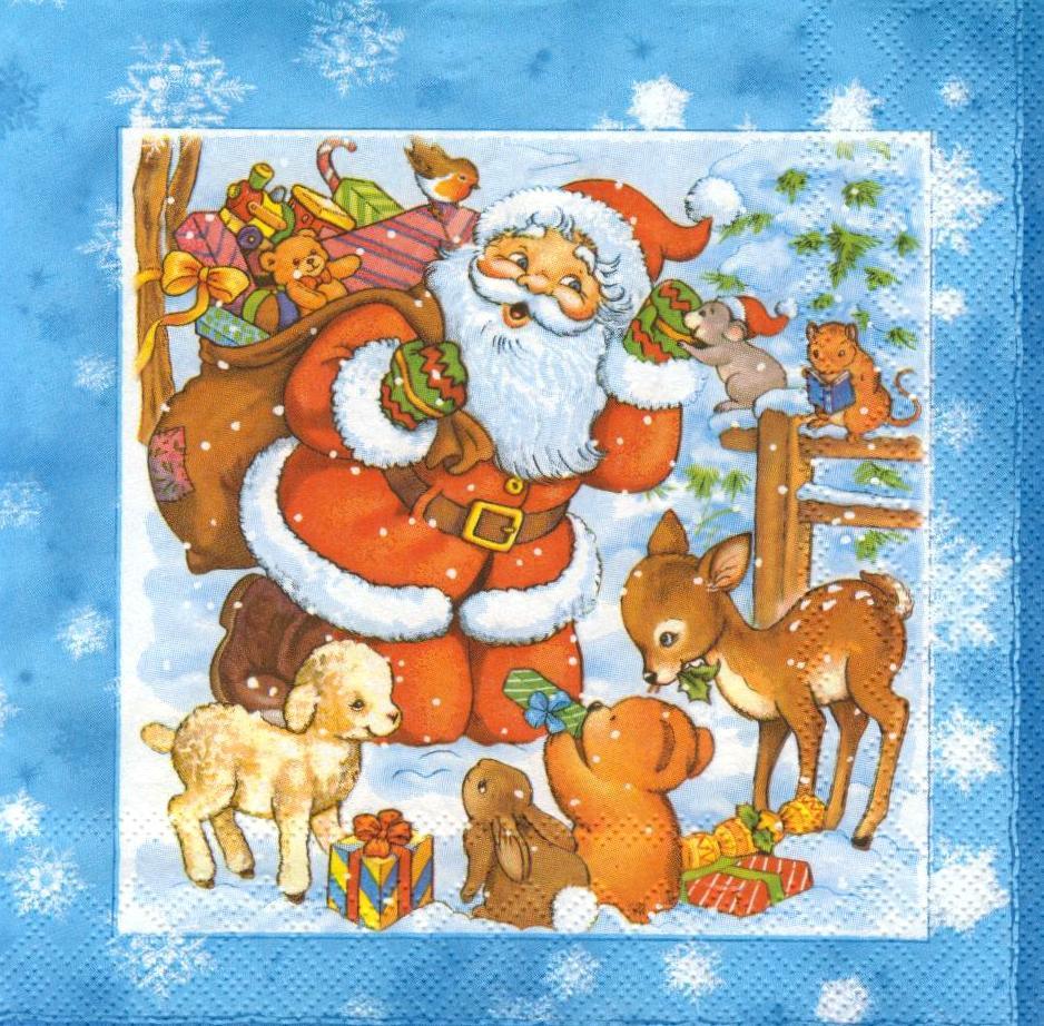 Салфетка декупажная Санта и звери 745