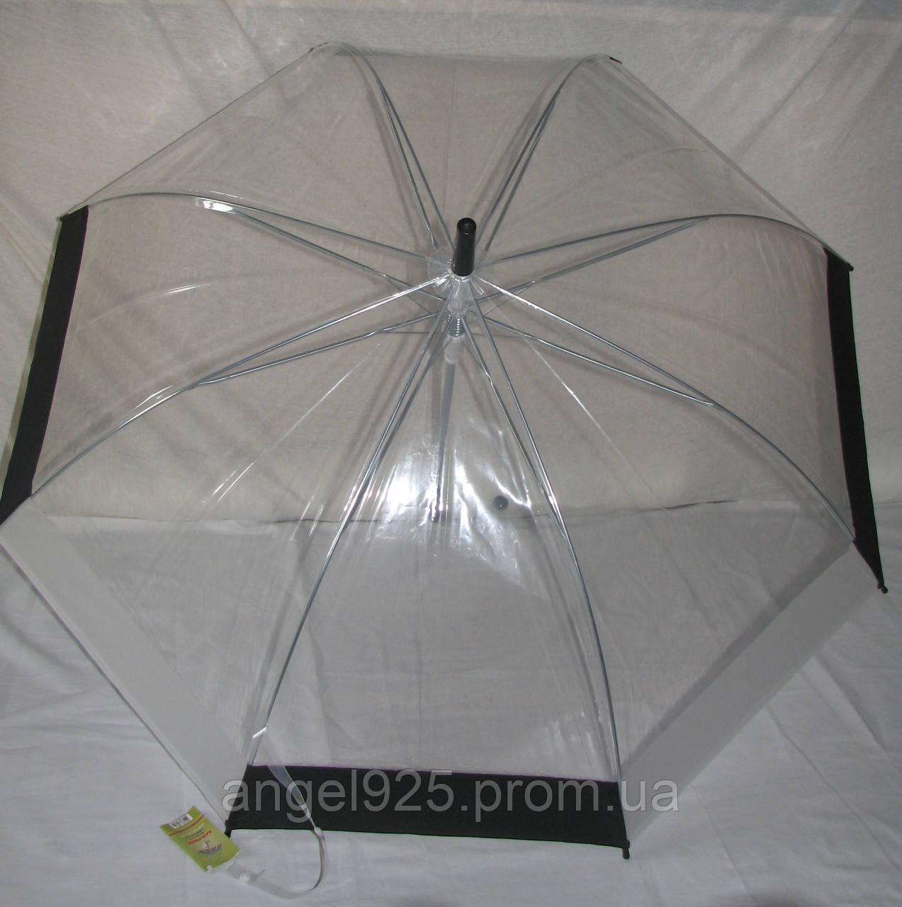 Прозрачный зонт полуавтомат с двухцветной окантовкой  - оптово-розничный интернет-магазин зонтов и детской одежды Angel в Киеве