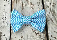 Галстук-бабочка, голубой зигзаг, фото 1