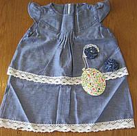 Платье с кружевом (хлопок деним в горошек)