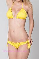 """Купальник ТМ """"Кифа"""" с лифом-шторками и трусиками танга. Купальник жёлтого цвета с рюшами"""