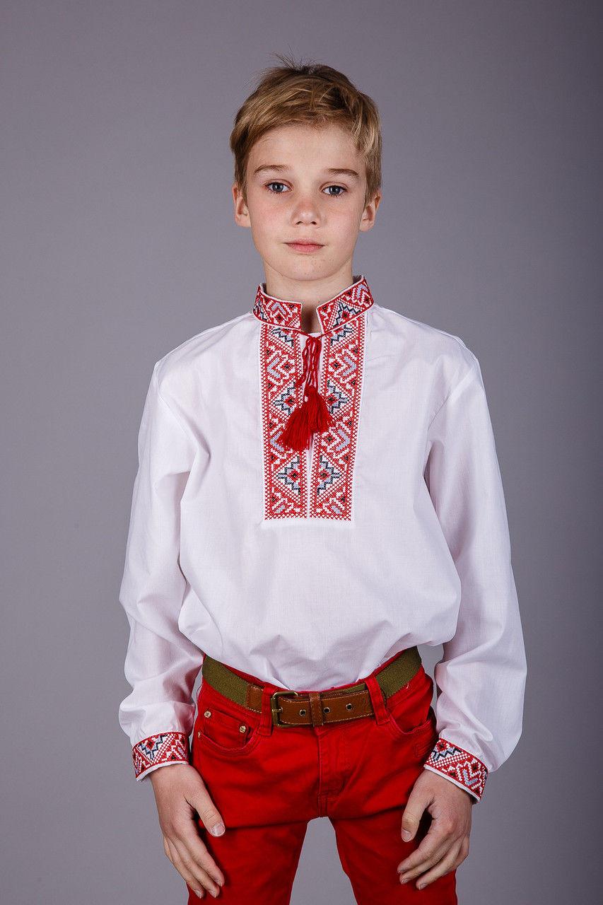Детская вышиванка для мальчика из натуральной ткани с вышивкой красного цвета