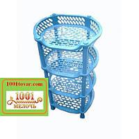 Пластиковая этажерка LUX на 4-и полки, голубая