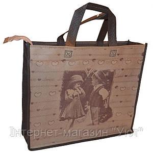 Эко-сумка из натурального материала с рисунком дети