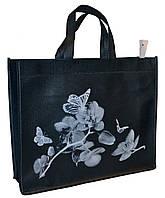 Эко-сумка из натурального материала с цветами
