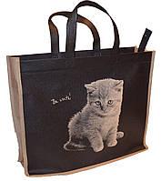Эко-сумка из натурального материала с котиком