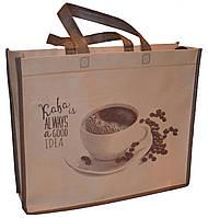 Эко-сумка из натурального материала с кофе