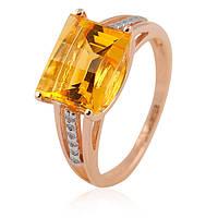Золотое кольцо с большим цитрином