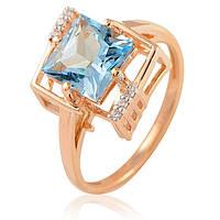 Золотое кольцо с большим голубым топазом