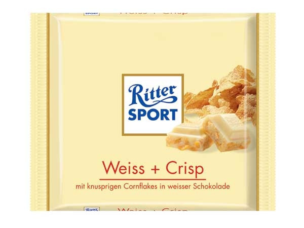 Шоколад Ritter Sport Weiss + Crisp (Риттер Спорт с кукурузными хлопья), 100 г