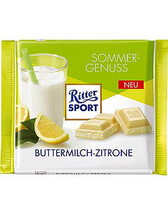 Шоколад Ritter Sport Buttermilk Lemon (Ріттер Спорт кефір + лимон), 100 г