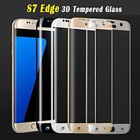 Защитное стекло 3D для Samsung Galaxy S7 Edge G935 закругленные края, фото 1