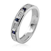Золотое кольцо из белого золота с бриллиантами сапфирами