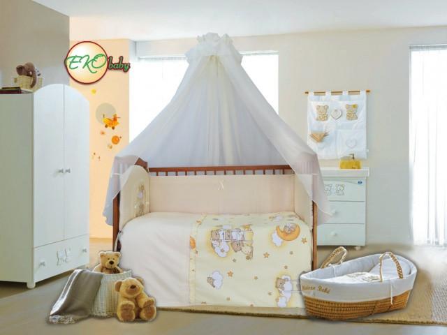 Детский постельный комплект «Домик для мишки» (Бежевый, 7 элементов), EkoBaby