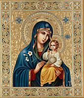 """Набор алмазной вышивки (мозаики) икона """"Богородица Неувядаемый Цвет"""" (бежевый фон)"""