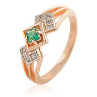 Золотое кольцо с бриллиантами и изумрудом, фото 1