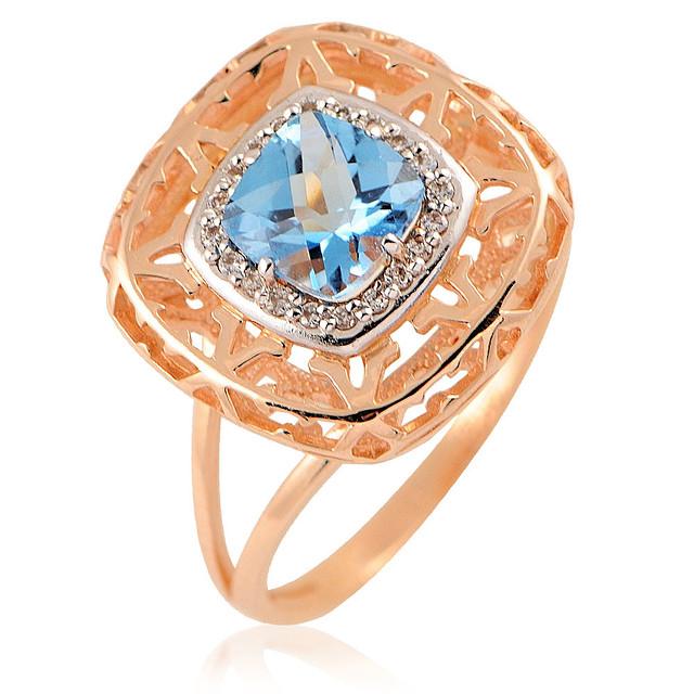 Кольцо и золота 585 пробы с бриллиантами и топазом