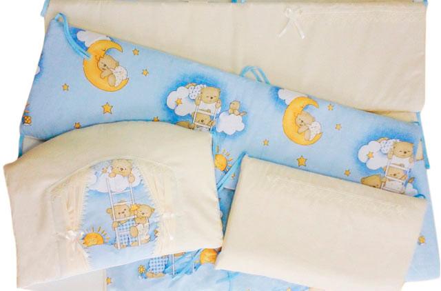 Детский постельный комплект «Домик для мишки» (Голубой, 7 элементов), EkoBaby