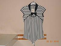Блузка-боди черно-белая приталенная в полоску Body Jet, фото 1