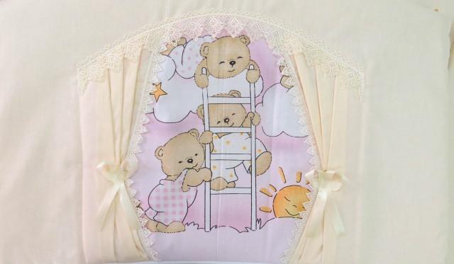 Детский постельный комплект «Домик для мишки» (Розовый, 6 элементов), EkoBaby