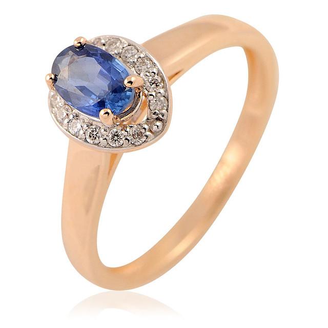 Золотое кольцо с бриллиантами и сапфиром - 2.49 гр