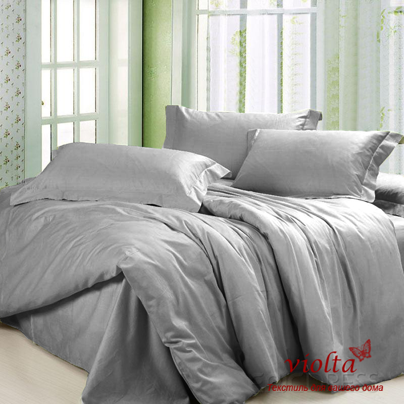 0d8170bb30b7 Комплект постельного белья, полуторный (простынь на резинке), сатин-люкс,  серый однотонный