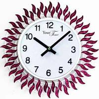 Часы настенные с камнями фиолетовый металл 40х40 см