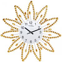 Часы настенные с камнями жёлтый метал 40х40 см