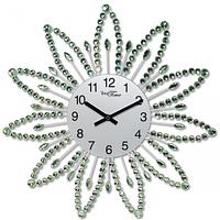 Часы настенные с камнями зелёный металл 40х40 см