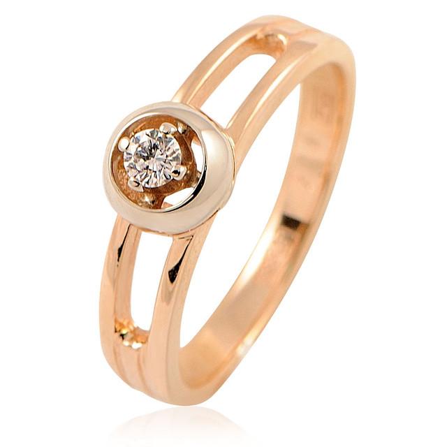 Золотое кольцо с бриллиантами - 3.36 гр