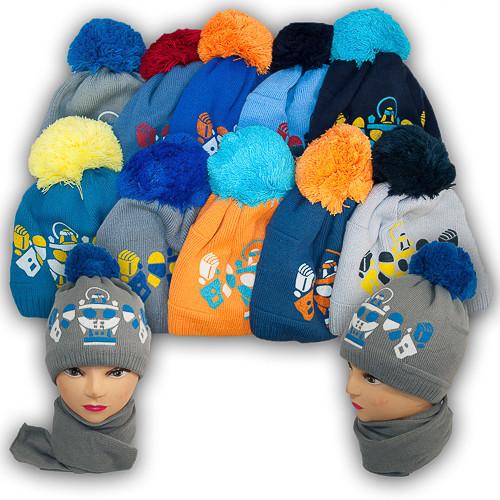Комплект шапка и шарф для мальчика, Agbo (Польша), подкладка флис, BONZO 932