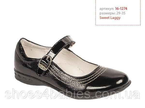 Школьные туфли для девочек Lapsi Лапси 16-1274 черные